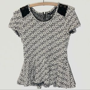 Anthropologie Knitted & Knotted Floral Peplum Top